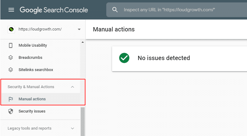 Google Manual Action Notification GSC