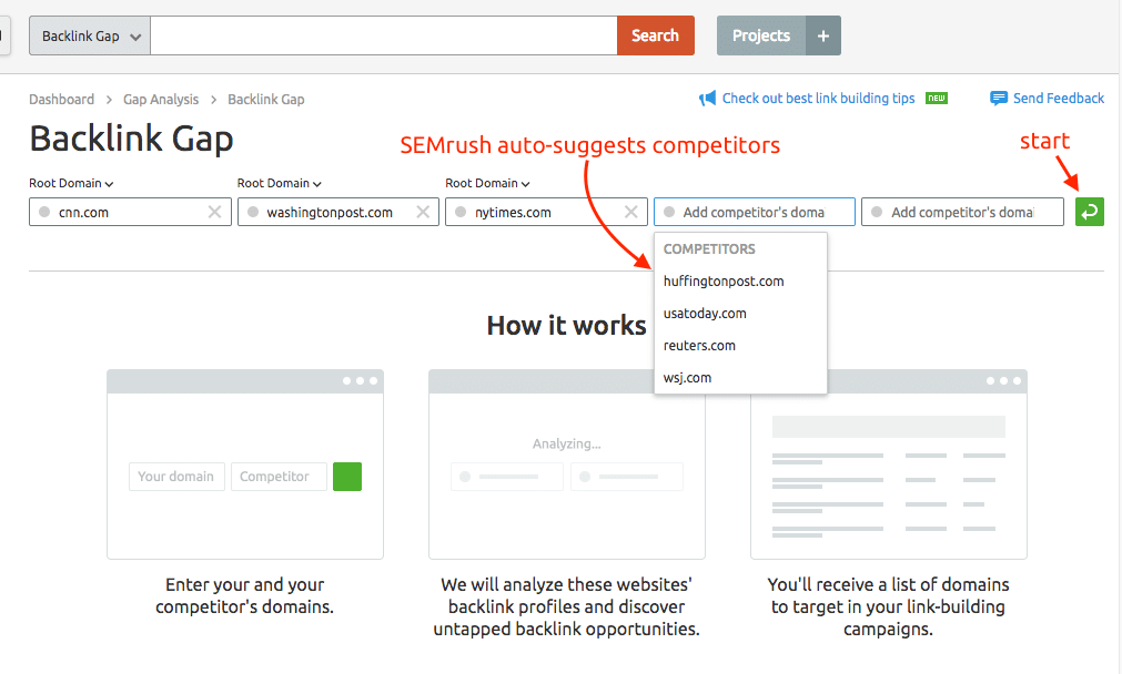semrush backlink gap tool