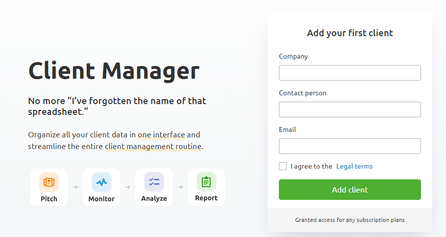 semrush client manager CRM